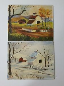 Vintage Paintings on Canvas Board of a Barn in 2 Seasons Fall amp; Winter 8x10 $29.95