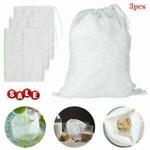 3PCS Reusable Cotton Fine Mesh Nut Milk Cheese Cloth Bag Cold Brew Coffee Filter $6.59