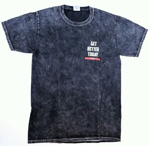 colortone Get Better Today Black SS Acid Wash Vintage Distressed T Shirt