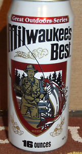 BOTTOM OPEN MILWAUKEES BEST FISHING PULL TAB BEER CAN HALF QUART 16oz OUTDOOR