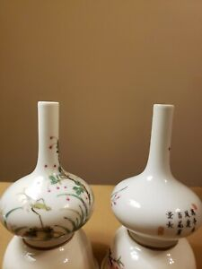 Pair of Chinese Old Hand Painting Porcelain Bottles Vases quot;QianLongquot; Marks $450.00