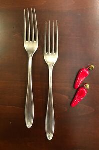 Rare Set of 2 Vintage Dinner Forks By Alaska Silver Plate. 7.5quot; Long with Roses