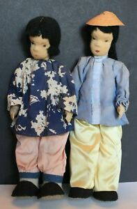 Vintage Chinese Dolls Pair 1940s Pre WWII Collectible Man Woman Stockinette 13quot; $110.00