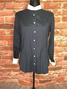 Brooks Brothers Womens Blue White Contrast Collar Sleeve Hem Button Shirt Size 8 $21.99