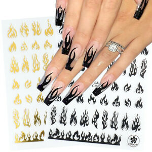 3D Holographic Fire Flame Nail Stickers Gold Black Decal DIY Nail Art Decoration