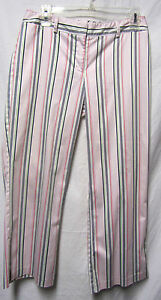 THE LIMITED stretch cropped capri pants 6 Waist 30 White pink Multi striped