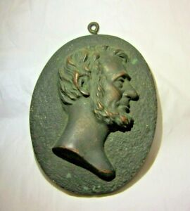 Vintage Bronze Abe Lincoln Plaque Oval w Hook Wall Hanging $19.99