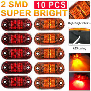 5x Amber5x Red 2 LED Car Truck Trailer RV Oval 2.5quot; Side Clearance Marker Light