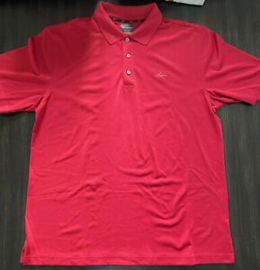 Men's GREG NORMAN For Tasso Elba Five Iron Golf Polo Size Large Red
