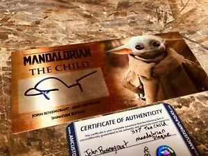 Mandalorian The Child John Rosengrant Signed 3x7 Plaque Stand And COA $125.00
