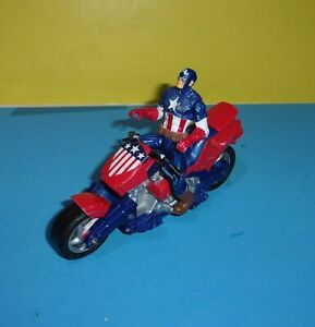 Marvel 3.5quot; Seated Figure CAPTAIN AMERICA Motorcycle Used Toys