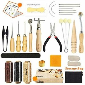 Leather Sewing Tools 25 Pieces Craft DIY Hand Stitching Kit With Groover Awl For $29.50