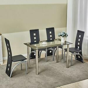 5 Piece Glass Dining Table Set 4 Chairs Room Kitchen Breakfast Furniture $209.99