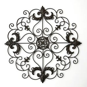 Metal Wall Art Medallion with Ornate Accent Pattern $20.98