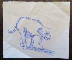 Drawing Sketch Antique On Back of A Bill Exchange Figure Dog Solitaire P28.5 $16.85