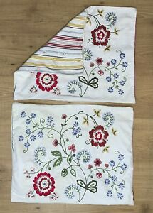 Pair Ikea Alvine Flora Throw Pillow Cover Case Embroidered Flowers Button Close $46.90