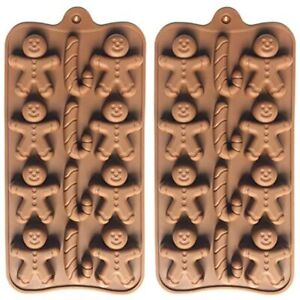 2pcs Christmas Silicone Molds For Baking Jelly Soap Candy Cane Gingerbread Men