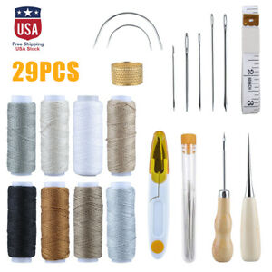 29Pcs Leather Waxed Thread Stitching Needles Awl Hand Tools for DIY Sewing Craft $12.99