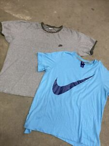 LOT OF 2 VTG NIKE Shirts XL Raglan amp; Baby Blue $19.99
