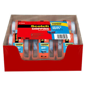 Scotch Heavy Duty Shipping Packaging Tape Dispensers 2quot; x 27.7 yd 6 Pack $12.98