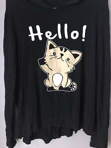 Woman#x27;s Hoodie with Cat Saying Hello and Goodbye Size XL Very Cute