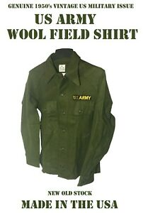 US ARMY VINTAGE MILITARY OG 108 UTILITY FATIGUE WOOL FIELD SHIRT TOP MEN#x27;S S NOS $34.95
