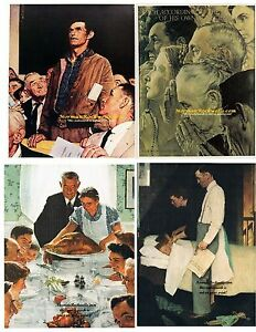 Norman Rockwell FOUR FREEDOMS set of 4 WorshipSpeechWant amp; Fear 8quot; x 10quot;