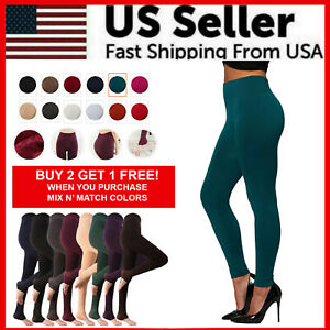 Womens Fleece Lined Leggings Solid Colors Winter Thick Warm Thermal Stretchy $6.59