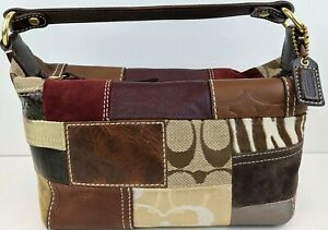 Coach Leather Suede And Logo Fabric Small Quilted Handbag Purse EUC