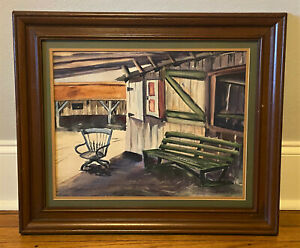Vtg Original Signed Watercolor Painting Rural Town Life Store Minalee White $150.00