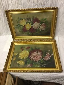 Pair Magnificent Antique Victorian Oil Paintings Flowers Roses Gold Gesso Frames $295.00