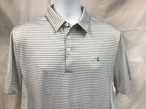 Under Armour Golf Polo Heat Gear White Gray Stripe Coldblack Size Medium $16.99