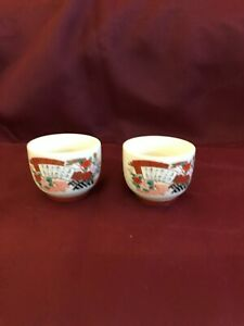 Set of Two Authentic Japanese Satsuma Sake Cup Ceramic Tea Bowl Pottery