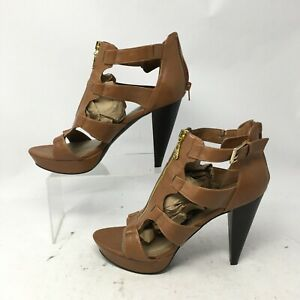 Guess Front Zip Caged Open Toe Sandal Womens 9.5M Brown Buckle Leather High Heel $22.03