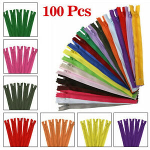 100Pcs Nylon Coil Zippers Bulk for Sewing Crafters Assorted 20 Colors DIY 9 Inch