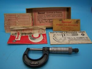 STARRETT 436rl1 1quot; 2quot; .0001 OUTSIDE MICROMETER IN BOX. MADE IN USA $60.00