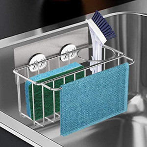Suction Sink Caddy Sponge Holder For Kitchen Accessories Stainless Steel 3 in 1