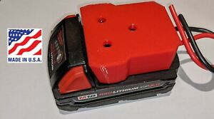 Milwaukee M18 Battery Adapter Holder Dock with Wire Leads Power Wheels Upgrade