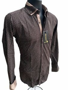 Mens DESIGNER Long Sleeve Button Down Slim Fit Dress BROWN STRETCH FLORAL SHIRT