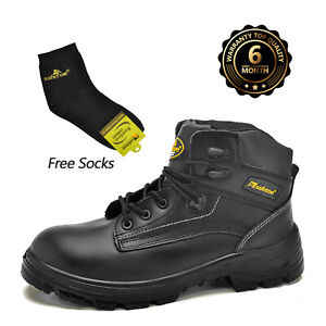 Safetoe Mens Work Boots Safety Shoes Water Resistant Steel Toe Ankle Leather Mid