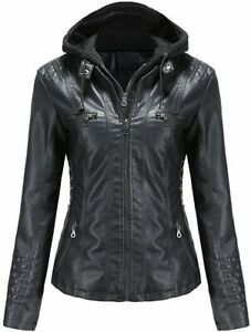 Tagoo Faux Leather Jacket Women Motorcycle Coat for Biker with Removable Hood Pl