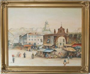 Beautiful Vintage Oil Painting Cityscape w Busy Market Scene Old World Signed $350.00