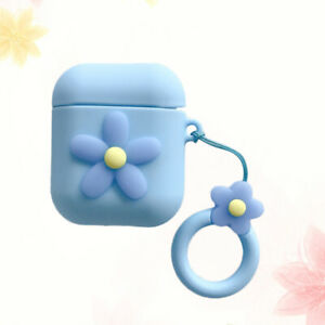 Wireless Earphone Protective Cover Lovely Flower PVC Case with Ring Pendant