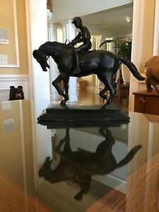 Vintage Bronze Horse and Jockey in Manner of Isadore Bonheur Large Heavy $499.00