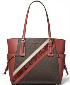 Michael Kors Voyager East West Leather Tote Terracotta Multi Gold $225.00