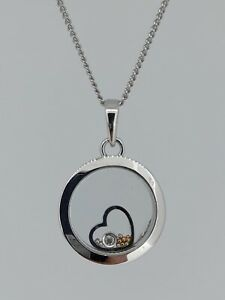 9ct White Gold Floating Diamond Pendant 0.01ct 18 Inch 3.2g RRP: £399