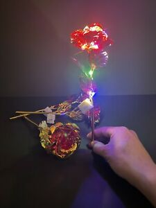 Red Foil Rose Flower LED Luminous Galaxy Mothers Day Valentines Day Gift