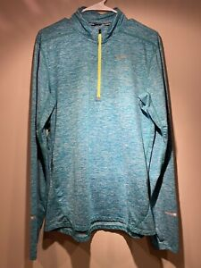 Nike Running Mens Medium 1 4 Zip Longsleeve Heathered Green DRI FIT $29.99