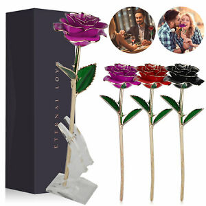 24K Plated Gold Foil Rose Flower Galaxy Mothers Day Valentines Day Love Gift
