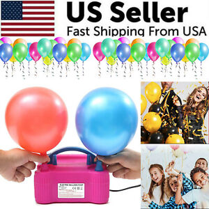 Portable Electric Balloon Pump High Power Two Nozzle Air Blower Inflator Party $23.49